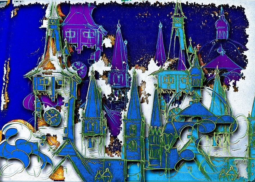 Unsere Weihnachtskarte 2020 zeigt das Bild Winterliches Würzburg von Ingrid Erhard-Rosentritt