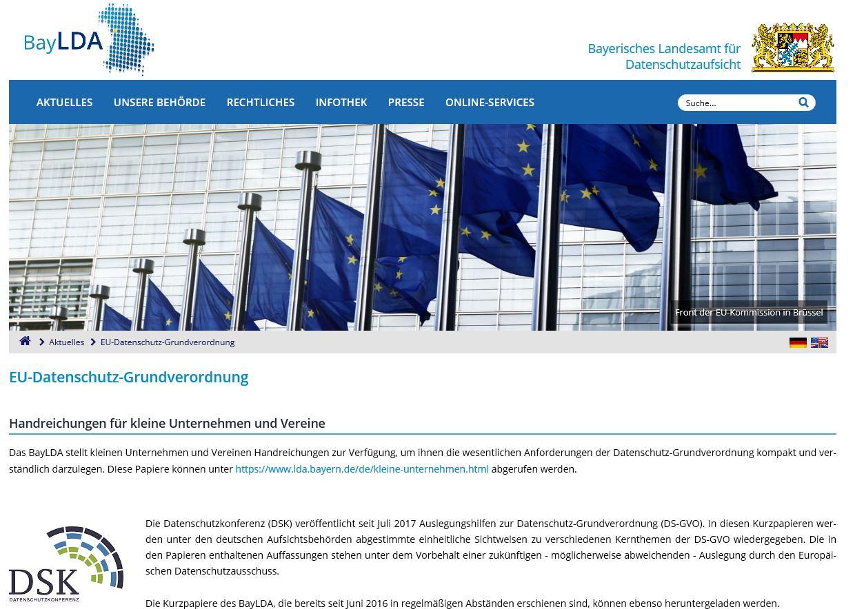 Informationen des Bayerischen Landesamt für Datenschutzauffsicht