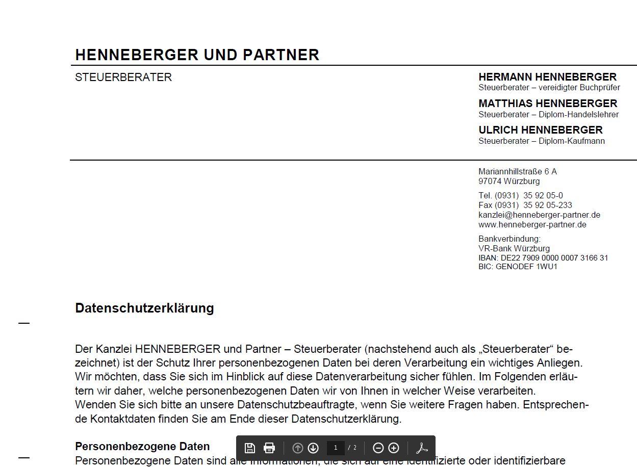 Unser Datenschutzerklärung können Sie hier abrufen - https://www.henneberger-partner.de/dateien/Datenschutzhinweise-HuP.pdf