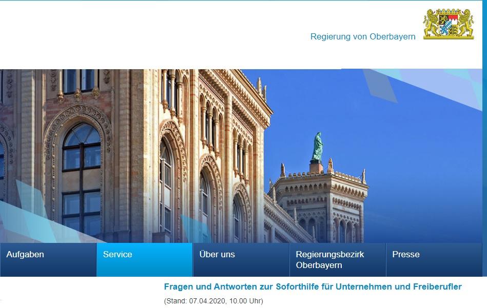 FAQ Soforthilfe Bayern - Der Originallink zur Regierung von Oberbayern