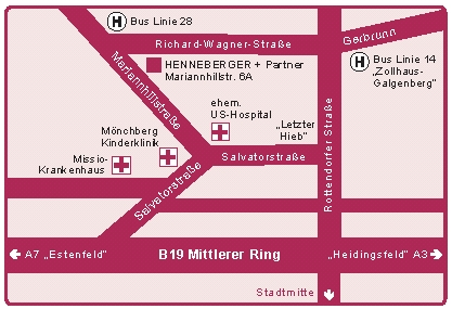 Lageplan unserer neuen Kanzleiräume in der Mariannhillstraße 6A