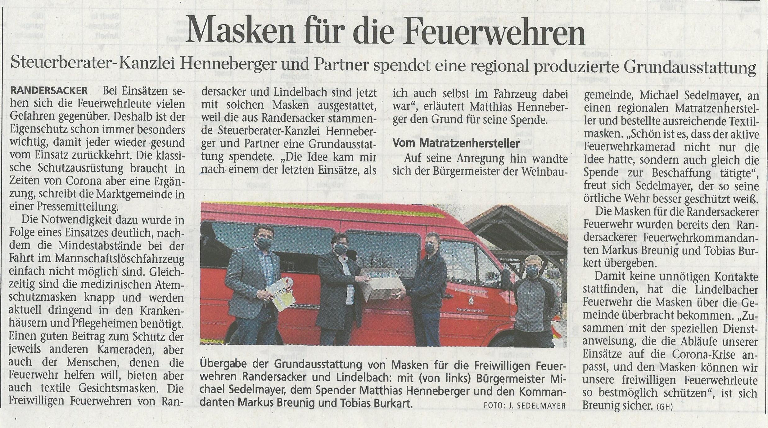 Masken für die Feuerwehr - HENNEBERGER und Partner spendet Grundausstattung