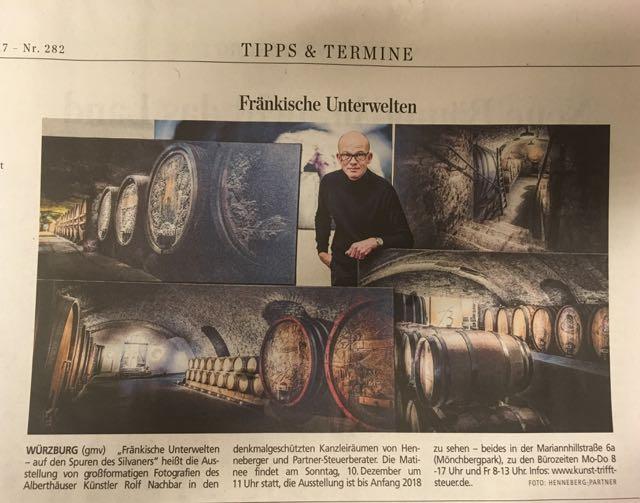 Tipp der MainPost: Unsere Reihe Kunst trifft Steuer, hier die Ausstellung 'Fränkische Unterwelten' von Rolf Nachbar (Matinee 10.12.2017)