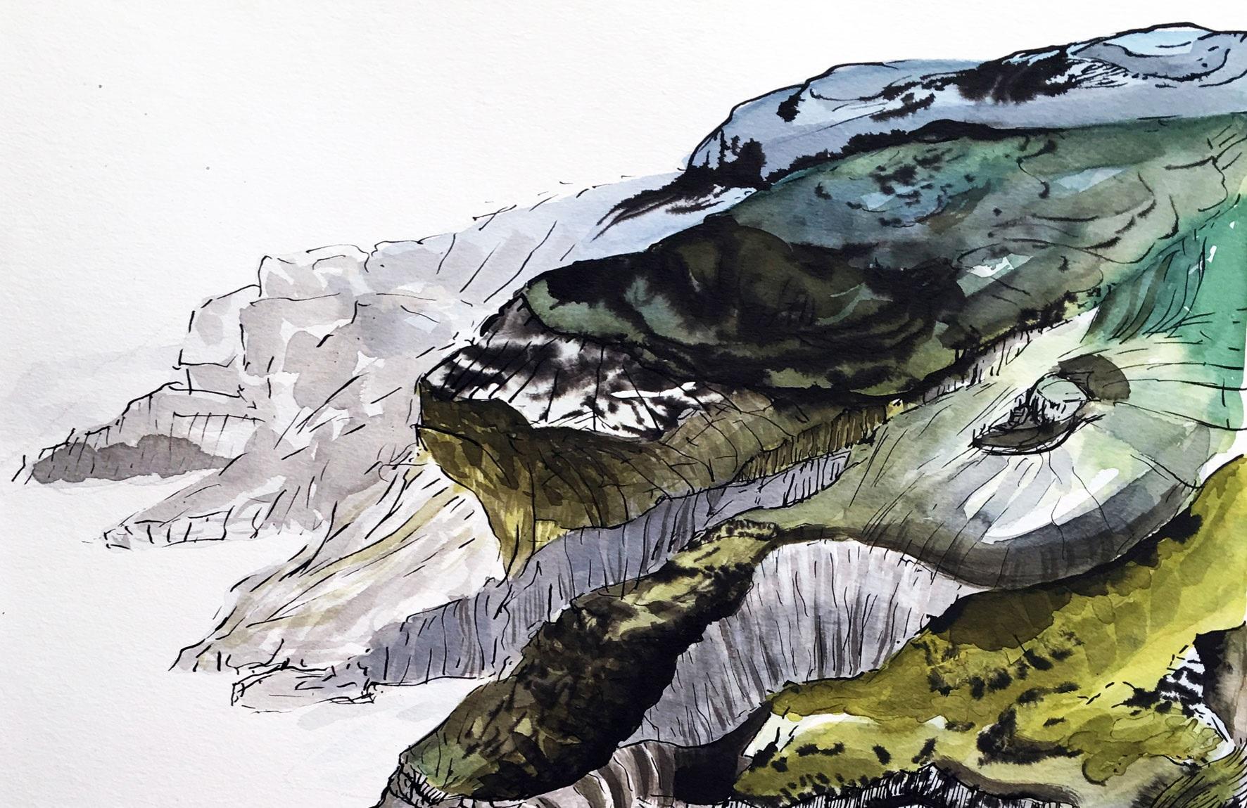 Kunst trifft Steuer XXVII - Sylvia Krieg - Homecoming - Hoch auf den Klippen Bearas, 2018, Tusche & Aquarell auf Papier, 42 x 56 cm (Ausschnitt)