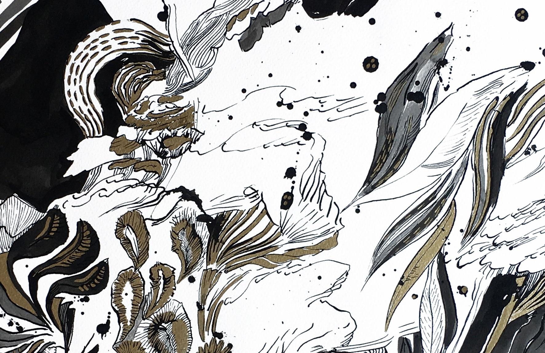 Kunst trifft Steuer XXVII - Sylvia Krieg - Homecoming - Cosmic Egg Series: Die Welt in einem Ei, 2018, Tusche & Lackmarker auf Papier, 50 x 70 cm (Ausschnitt)