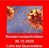 Corona - Aktuelle Informationen 30.10.2020 - Lohn bei Quarantäne